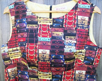 Size 16 Retro 60's Style Shift Dress with Suitcases