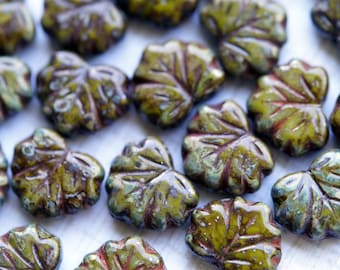 Autumn Maple Leaf Beads - Olive Picasso - Premium Czech Glass - Bead Soup Beads