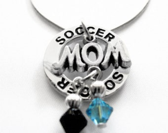 Personalized, Soccer Necklace, Team Colors, Swarovski Necklace, Soccer Mom, Soccer Gift, Soccer Coach, Captain, Co Captain, (Made to Order)