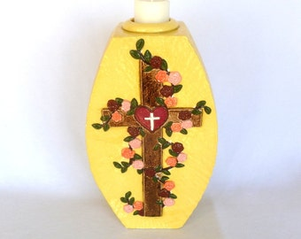 Tall RELIGIOUS CANDLE VASE