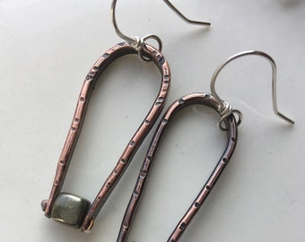 Copper and Pyrite Earrings