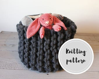 Wool rope basket PDF pattern with crochet cord, felting and knitting instructions