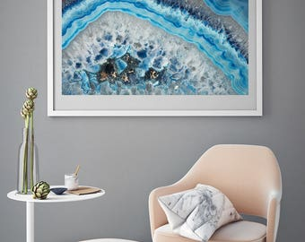 Mineral Photography - (Print # 095)  Blue Agate  - Fine Art Print - Two Paper Choices- Mineral Geode Agate Crystal Decor