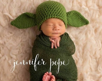 Newborn Baby Yoda Hat, Custom Made to Order