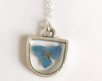 Pressé de minuscules moderne demi cercle pendentif fleur rempli de hortensia bleu