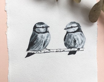 Blue Tits, Ink Drawing