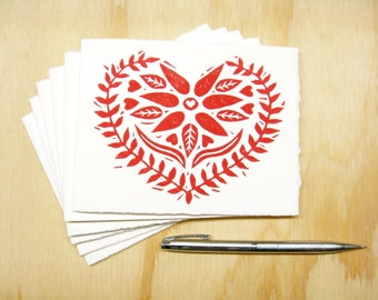 Greeting Cards - Red Heart - Set of 6 - Block Printed Cards - Swedish Heart - Valentines Day