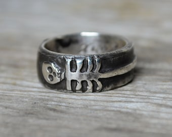 Sterling Silver Skeleton Ring, Till Death Us Do Part, Promise Ring, Wedding Ring, Engagement Ring, Stacking Ring, Silver Ring, Spring Gift