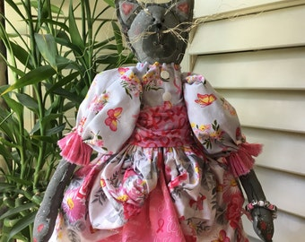 Handmade Cancer Awareness Fabric Doll - Breast Cancer Awareness -  Folkart Decor - Cat Shelf Sitter - Simply Nantucket's Pattern