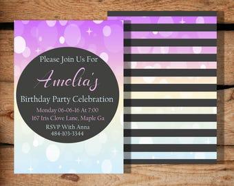 Confetti Birthday Invitation / Printable Invitation / Any Age / Womens Birthday Invitation / Girl Birthday Invite / Teen Birthday Invitation