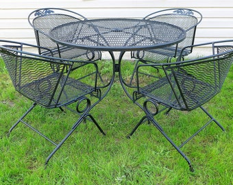 russell woodard patio set 4 spring bounce barrel back chairs and dining table floral rose metal - Metal Patio Furniture