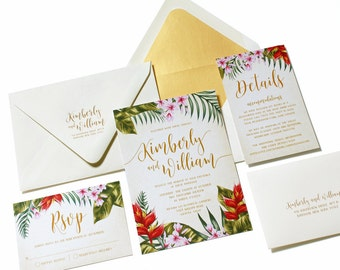 Tropical Wedding Invitation, Destination Wedding, Beach Invitation, Palm leaves, Hibiscus, Island Wedding, Hawaii, Caribbean-SAMPLE