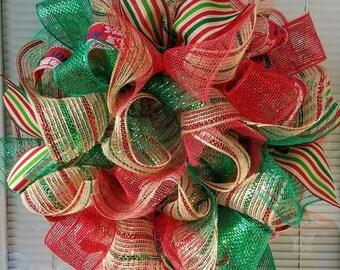Christmas Wreath, Holiday Wreath, Winter Wreath, Christmas Jute Wreath, Christmas Mesh Wreath, Ribbon Wreath, Small Christmas Wreath