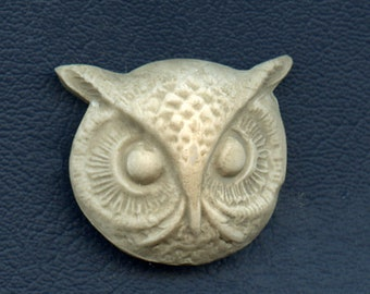Owl Cab Detailed  Polymer Clay  Textured and Highlighted Faux Marble OWH 3