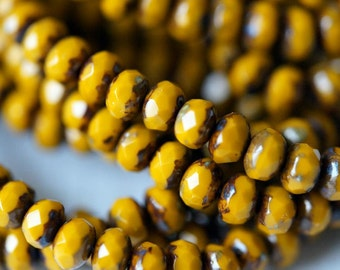 3x5mm Mustard Picasso Donuts - Opaque Rondelle - Fire Polished Rondelle - Bead Soup Beads