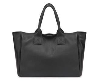 Simple black leather tote bag / minimalist tote bag / leather bag / leather tote / black leather tote