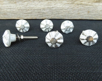 Old World Vintage Distressed White & Silver Metal Knob - Drawer Pull  - Romantic Country Shabby Chic
