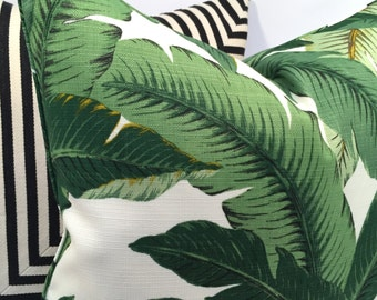 Tropical Palm Leaf Pillow Cover in Rich Greens with Hits of Yellow and Brown, on an Ivory Background