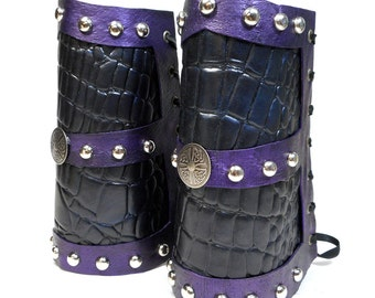 Dragon Leather Bracers / Handmade Celtic / Armor Bracers / Dragonhide Leather / Silver Rivets / Purple and Black / Handmade / Cosplay / Gift