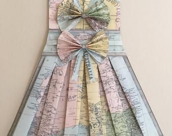 australia 26 x 18 hand folded vintage australia map dress bows