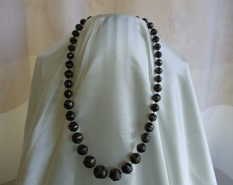 """Black Beads and Gold Lines Necklace, 23"""" long, 80s"""