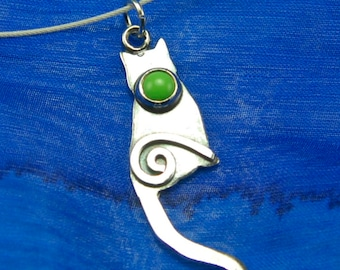 Silver Cat Necklace with Green Gaspeite Cabochon and Silver Spiral, Shiny Silver Cat Pendant with Green Gemstone, Shiny Silver Kitty