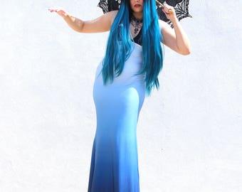 Gothic Dress - Mermaid Blue Dress - Steampunk Gothic Dress - Halloween Dress