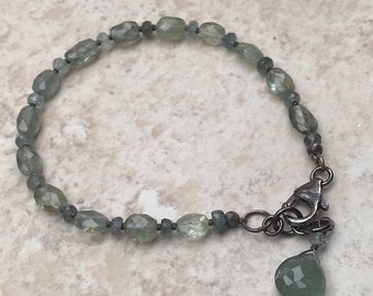 Faceted Moss Aquamarine and Oxidized Sterling Silver Bracelet