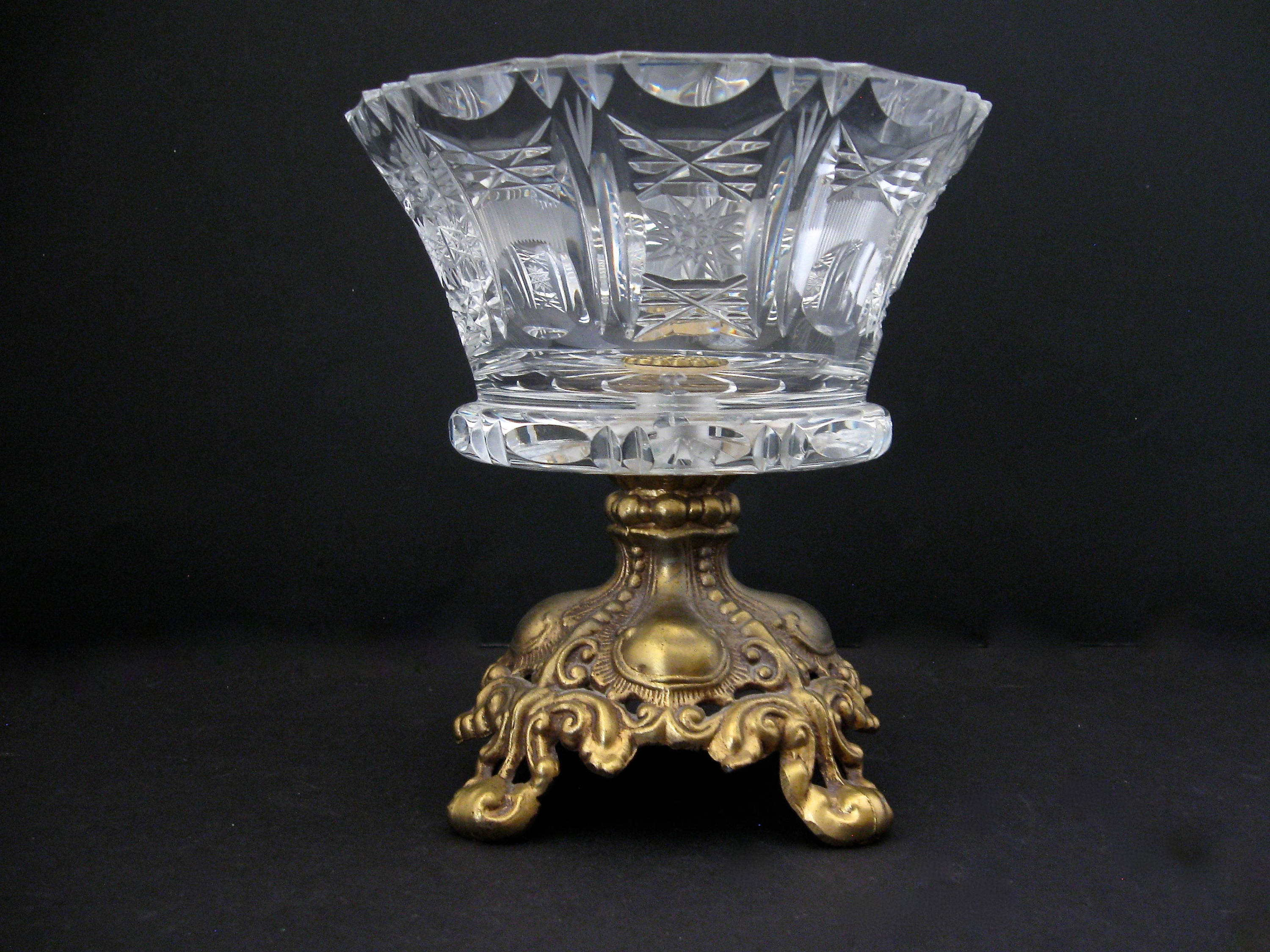 Vintage etched crystal cut glass compote bowl with brass zoom reviewsmspy