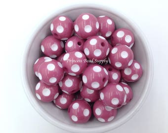 20mm Mauve Polka-Dot Chunky Beads Set of 10,  Mauve Beads,  Bubble Gum Beads, Gumball Beads, Acrylic Beads