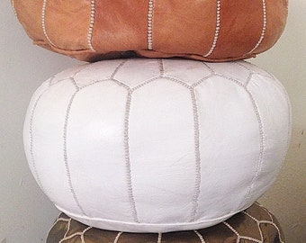 55% OFF White Moroccan Vegan Pouf, Pouffe, Foot Stool, wedding gifts, gifts, home decor, ottoman, Moroccan, African