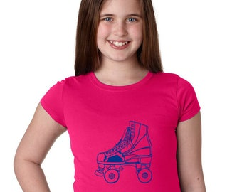 High Top Roller Skate Tshirt, Girls Fitted Graphic Tee, Cotton Crewneck Short Sleeved Shirt, Hand screenprinted, Roller Skating Roller Derby