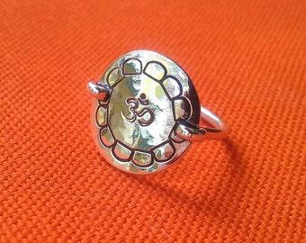 om ring in sterling silver