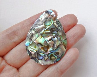 Mosaic Paua Abalone Shell 30x40 mm Pear Briolette with drilled hole One Piece K5985
