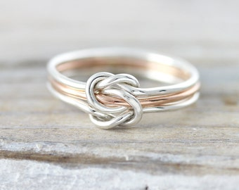 Three strand double knot ring - silver and gold filled ring, mother ring