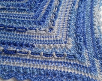 Crocheted ' lost in time' shawl, blue