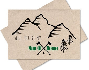 Will you be my man of honor, rustic wedding, card from bride, ask asking, wedding bridal party gifts, engagement, mountain wedding, recycled