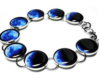 Blue Phases Of The Moon Bracelet, Space Jewelry, Moon Phase Bracelet, Resin Bracelet, Handmade Bracelet, Solar System, Lunar