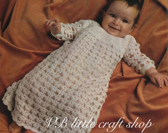 Babys lacy christening dress and layette crochet pattern. Instant PDF download!