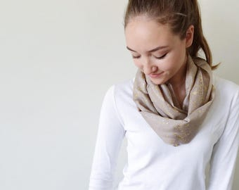 Gray Scarf-Gold Scarf-Infinity Scarf-Silk-Scarf-Scarves-Scarves for Fall-Scarves for Summer--Scarves for Spring-Holiday Gift-Gift for My