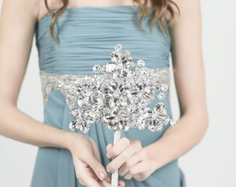 Bridesmaid Bouquet - Duo Bridesmaid Fan Bouquet of Silver Mirrored Flowers - Bridesmaid Accessory - Small Bridal Bouquet