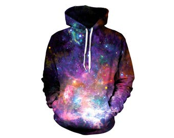 Space Pullover - Comfy Festival Hoodie - Purple Pink Stars Jumper - EDM Warm Rave Wear - Beautiful Cosmos