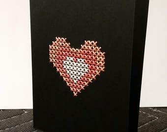Cross stitch Heart Card