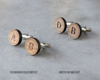 Personalized Initial Cufflinks (4 pairs) | Wood Cufflinks | Groomsmen Gift | Gifts for Him | Graduation Gift | Groom Gift | Dad Gift