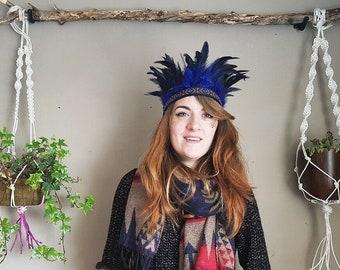 Handmade Feather Headdress, Blue Boho Gypsy Crown, Indian Headband