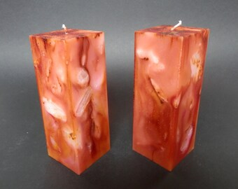 Handmade Candle, Marbled Candle, Square Candle, Decorative Candle