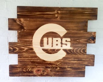 Chicago Cubs Baseball wood sign- Man Cave Sign