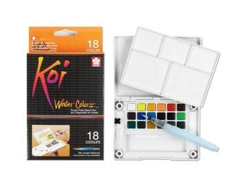 18 Watercolor Cakes, Sakura Koi Watercolour Cake, Watercolor Field Portable Sketch Set with Brush, Painting Supplies