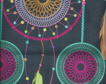 Cotton fabric printed with Dream Catcher - 70x50 cm