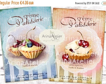 SALE 40% OFF - Shabby Cream Patisserie Cards No.2 - Large Images - Backgrounds - 5x7 inch - Digital Print - Ephemera Sheet - Tote, Bags, t-s